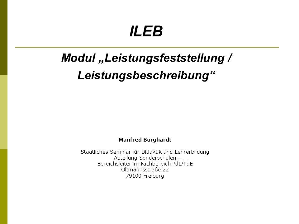 """Modul """"Leistungsfeststellung / Leistungsbeschreibung"""