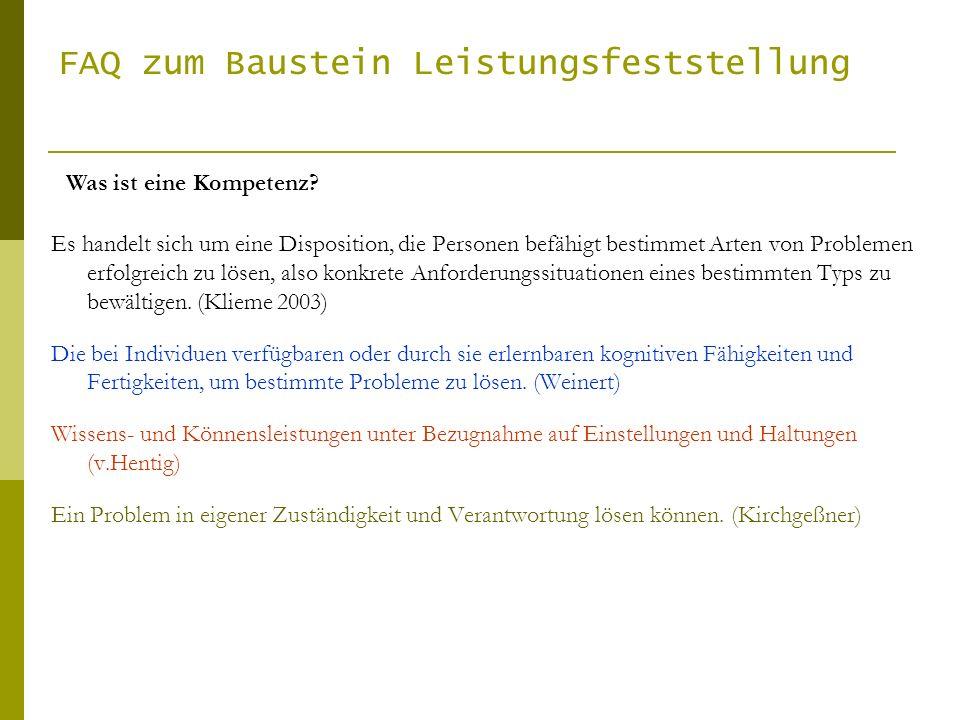 FAQ zum Baustein Leistungsfeststellung