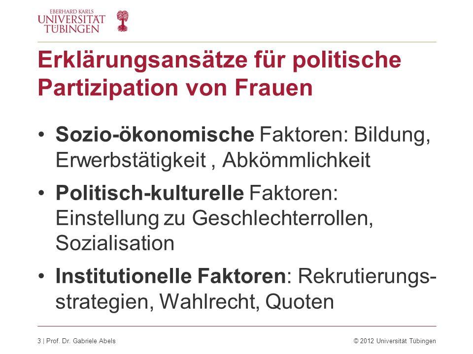 Erklärungsansätze für politische Partizipation von Frauen