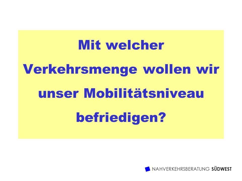Mit welcher Verkehrsmenge wollen wir unser Mobilitätsniveau befriedigen