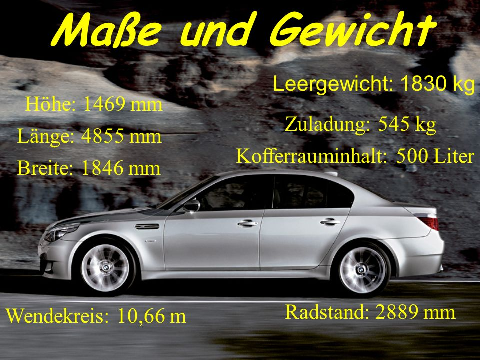 Maße und Gewicht Leergewicht: 1830 kg Höhe: 1469 mm Zuladung: 545 kg