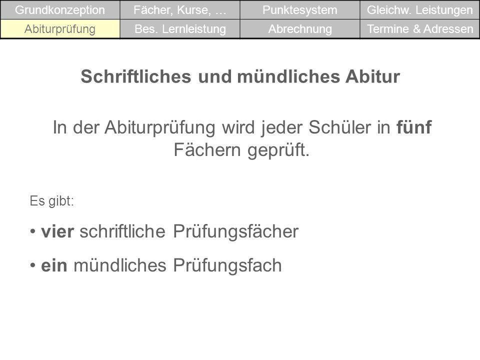 Schriftliches und mündliches Abitur