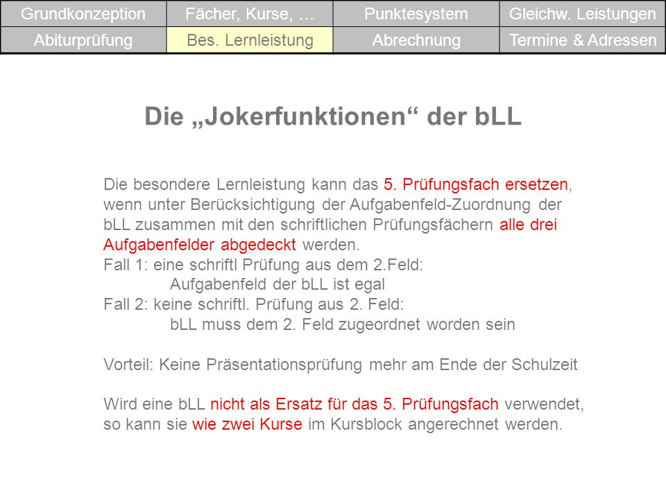 """Die """"Jokerfunktionen der bLL"""