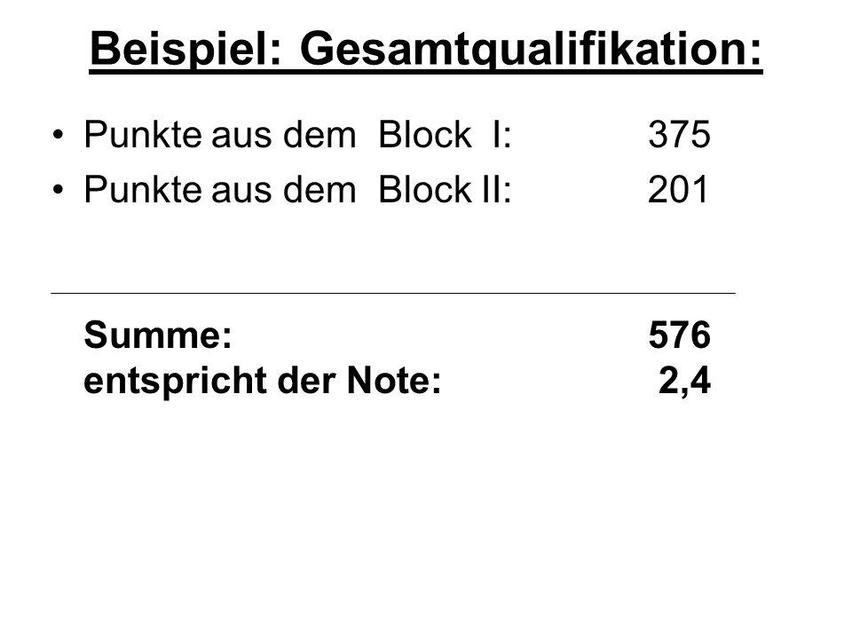 Beispiel: Gesamtqualifikation: