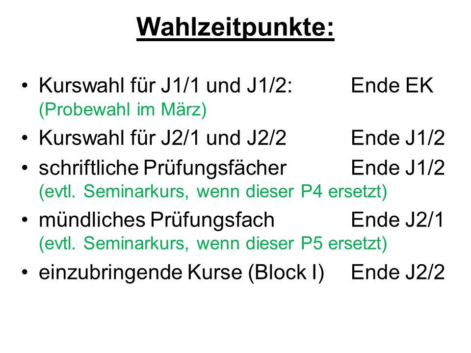 Wahlzeitpunkte: Kurswahl für J1/1 und J1/2: Ende EK (Probewahl im März) Kurswahl für J2/1 und J2/2 Ende J1/2.