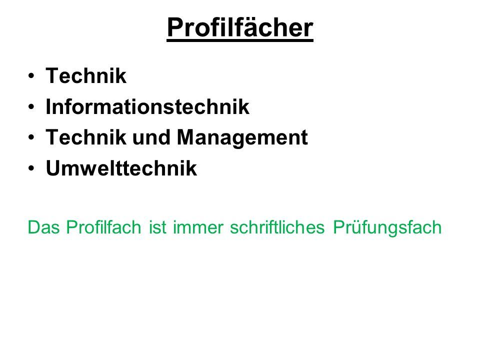 Profilfächer Technik Informationstechnik Technik und Management