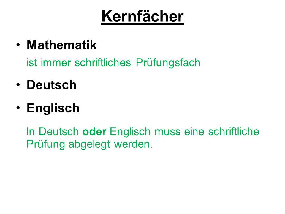 Kernfächer Mathematik ist immer schriftliches Prüfungsfach Deutsch