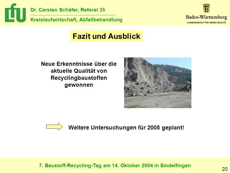 Fazit und Ausblick Neue Erkenntnisse über die aktuelle Qualität von Recyclingbaustoffen gewonnen.