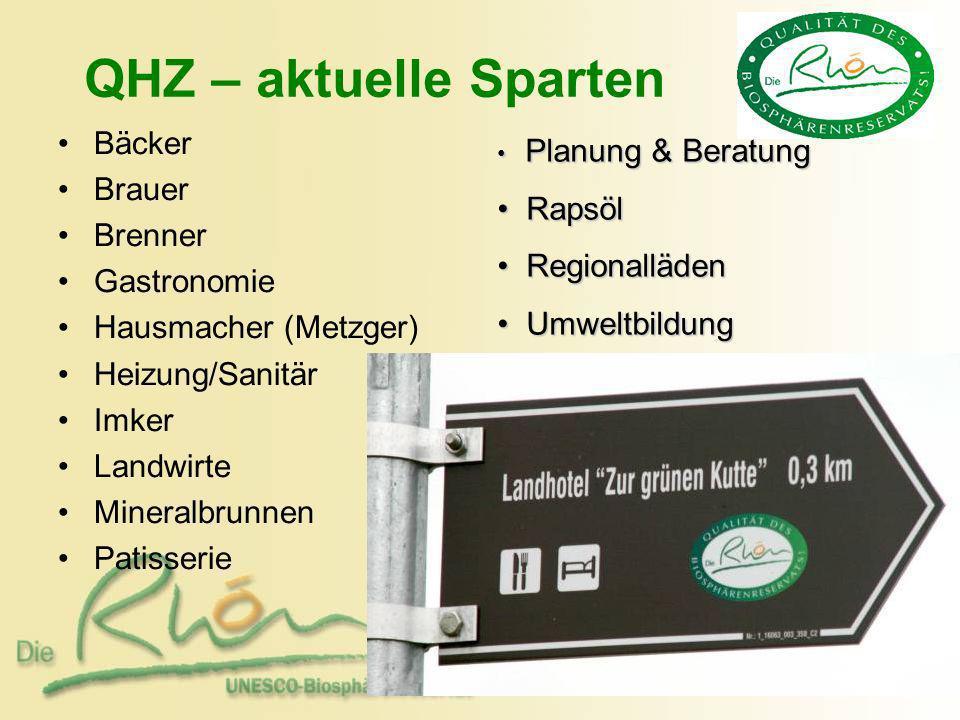 QHZ – aktuelle Sparten Bäcker Brauer Rapsöl Brenner Regionalläden