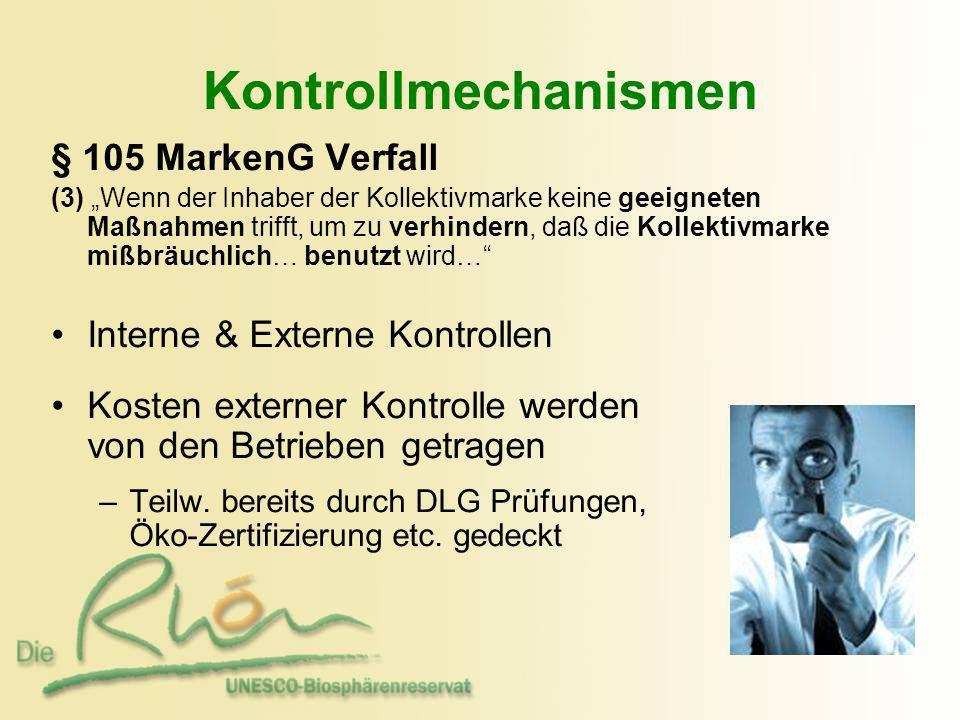 Kontrollmechanismen § 105 MarkenG Verfall Interne & Externe Kontrollen