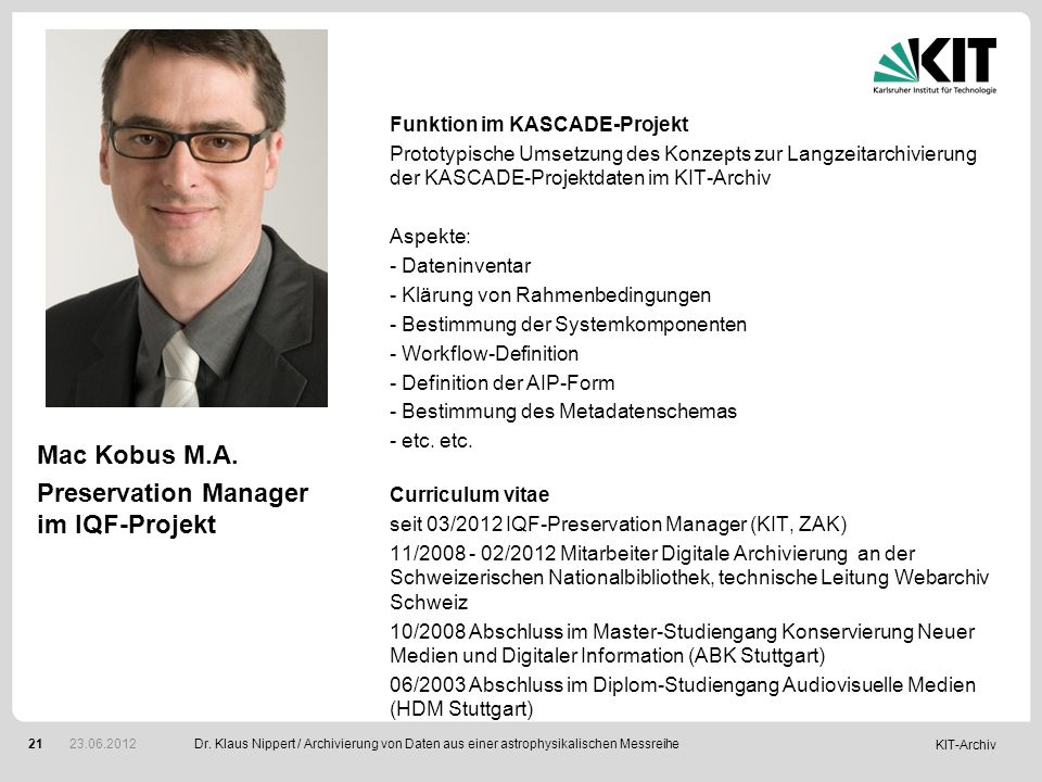 Preservation Manager im IQF-Projekt