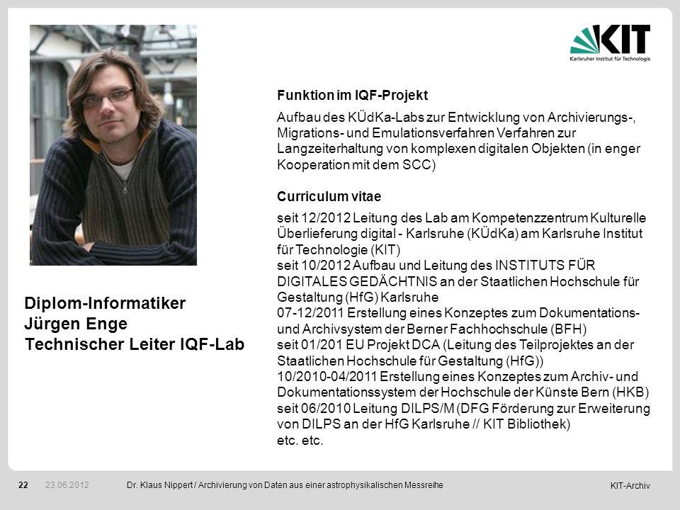 Diplom-Informatiker Jürgen Enge Technischer Leiter IQF-Lab