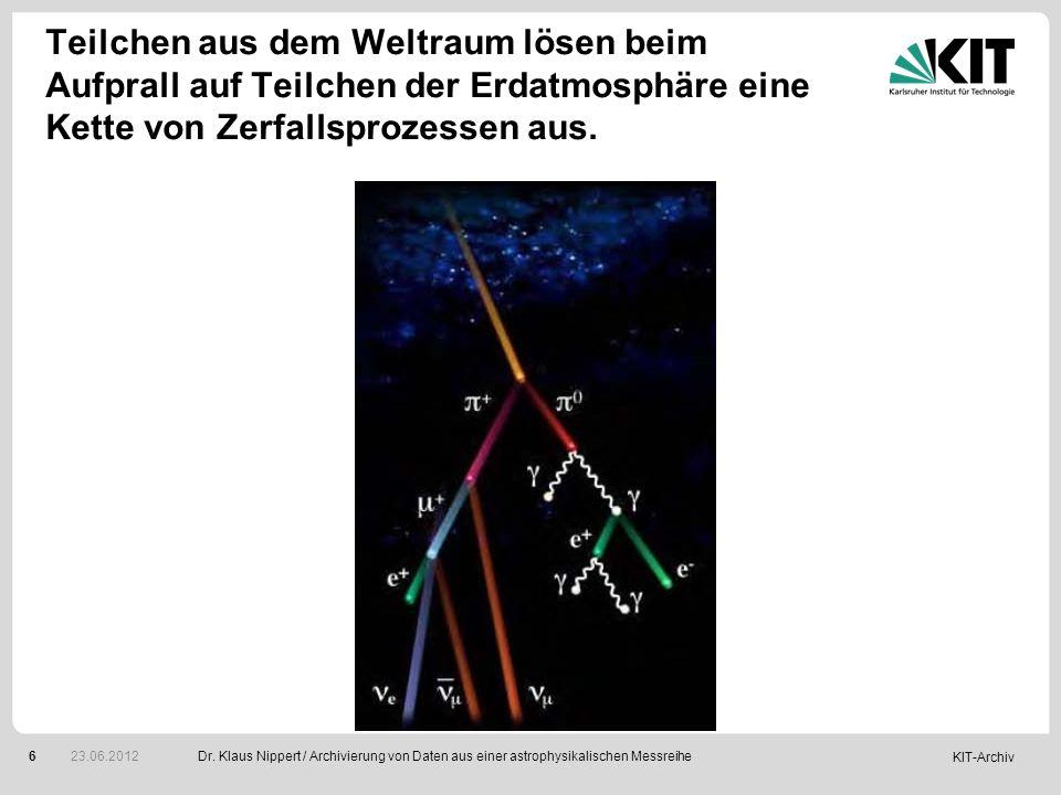 Teilchen aus dem Weltraum lösen beim Aufprall auf Teilchen der Erdatmosphäre eine Kette von Zerfallsprozessen aus.