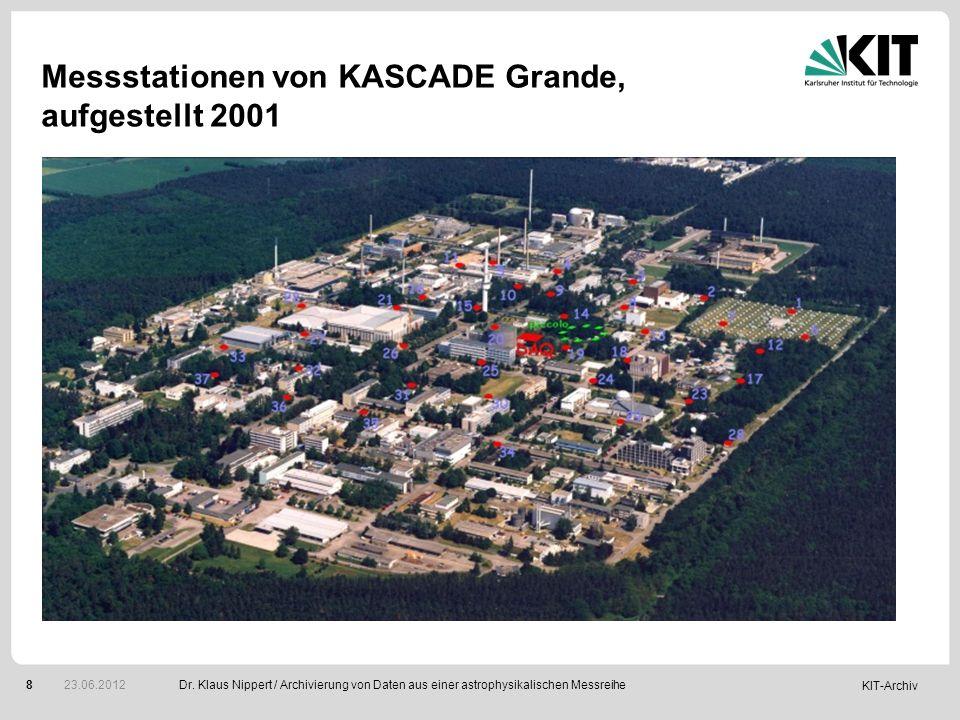 Messstationen von KASCADE Grande, aufgestellt 2001