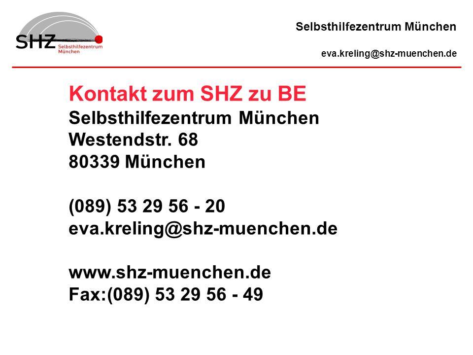 Kontakt zum SHZ zu BE Selbsthilfezentrum München Westendstr. 68