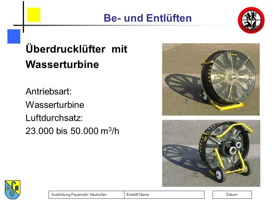 Überdrucklüfter mit Wasserturbine Antriebsart: Luftdurchsatz: