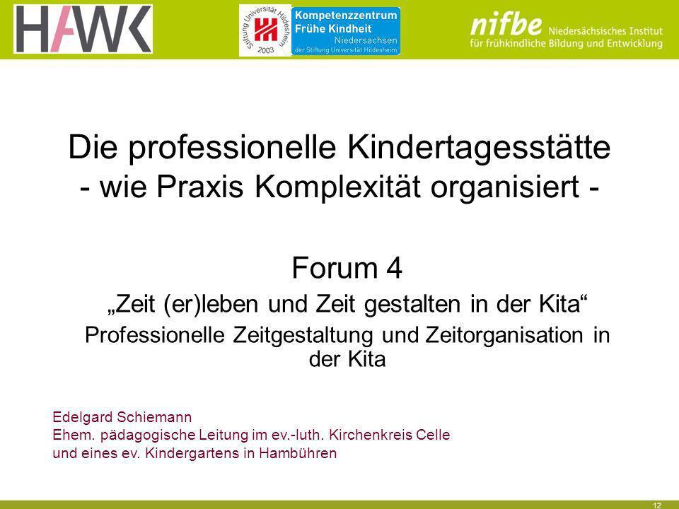 Die professionelle Kindertagesstätte - wie Praxis Komplexität organisiert -