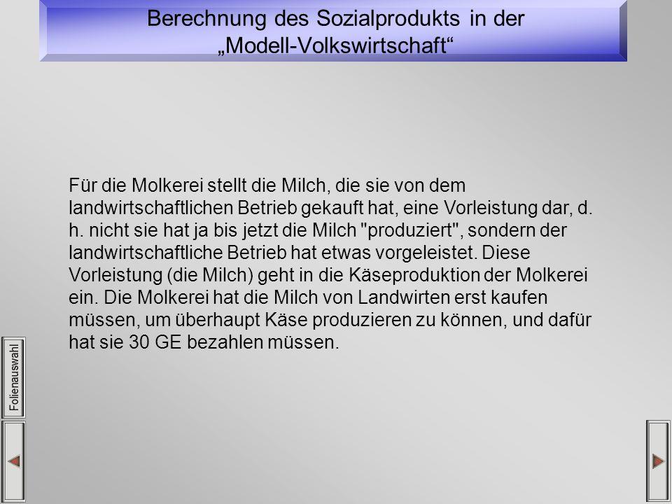 """Berechnung des Sozialprodukts in der """"Modell-Volkswirtschaft"""