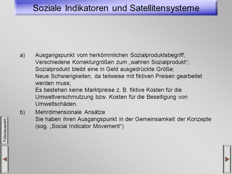 Soziale Indikatoren und Satellitensysteme