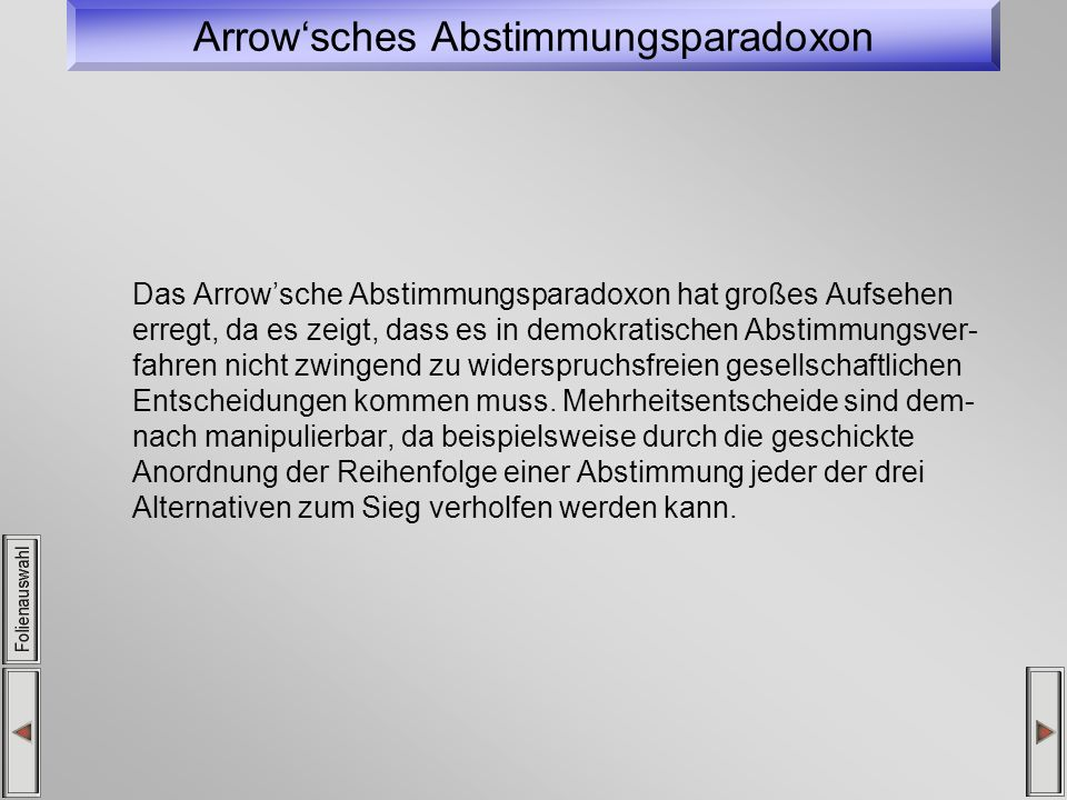 Arrow'sches Abstimmungsparadoxon