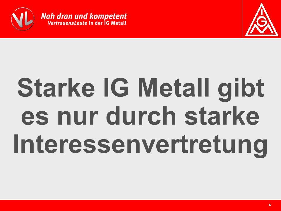 Starke IG Metall gibt es nur durch starke Interessenvertretung