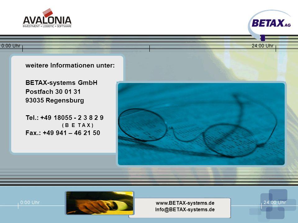 weitere Informationen unter: BETAX-systems GmbH Postfach 30 01 31