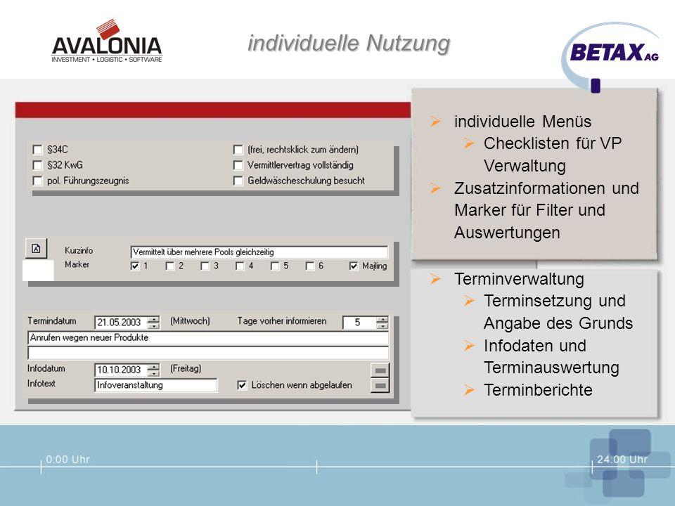 individuelle Nutzung individuelle Menüs Checklisten für VP Verwaltung