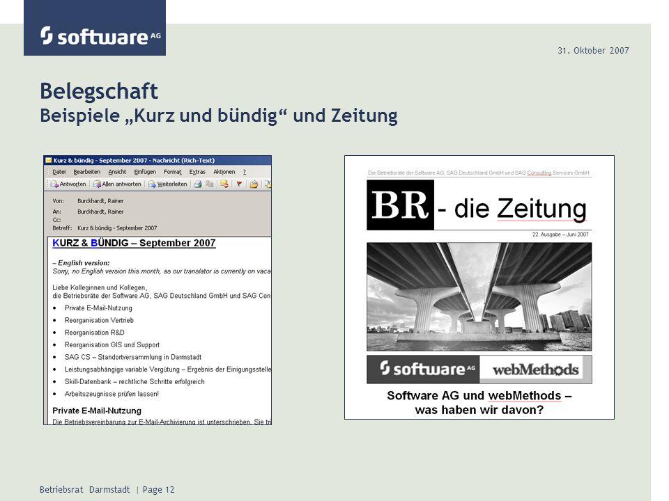 """Belegschaft Beispiele """"Kurz und bündig und Zeitung"""