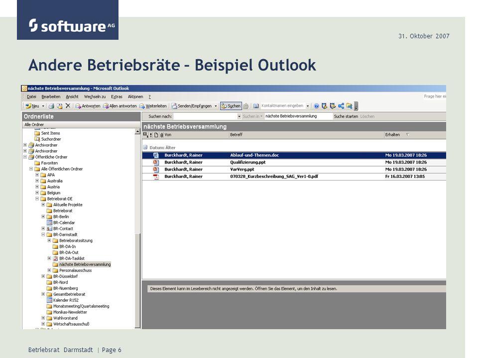 Andere Betriebsräte – Beispiel Outlook