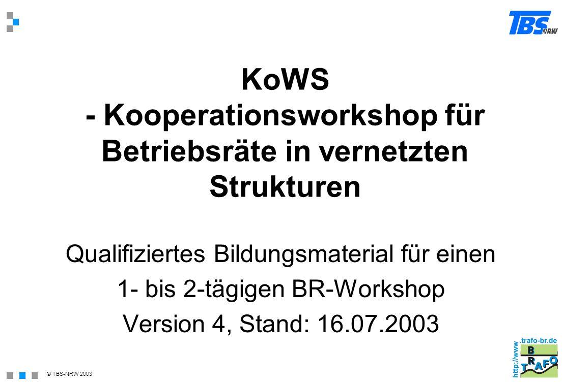 KoWS - Kooperationsworkshop für Betriebsräte in vernetzten Strukturen