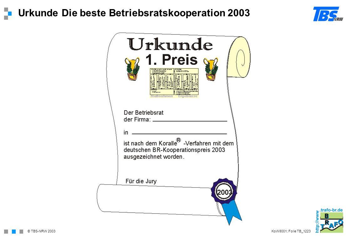 Urkunde Die beste Betriebsratskooperation 2003