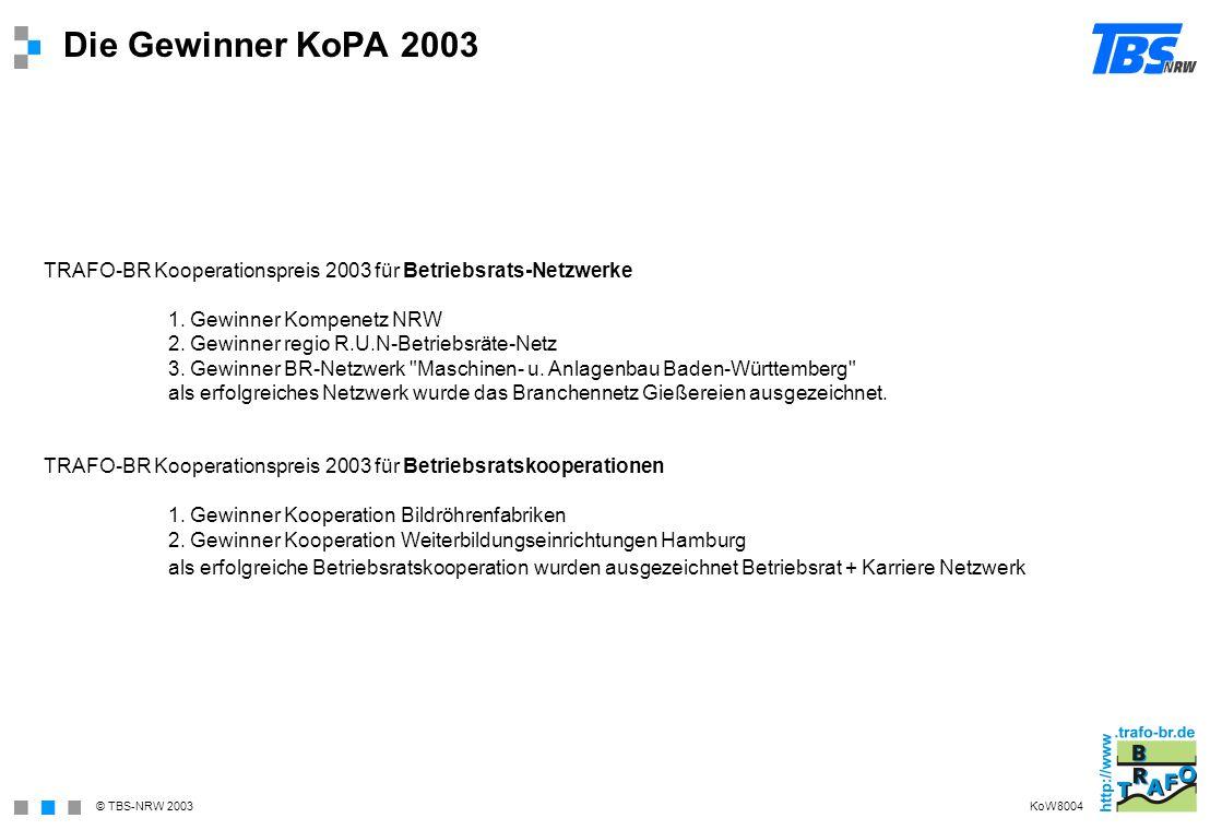 Die Gewinner KoPA 2003 TRAFO-BR Kooperationspreis 2003 für Betriebsrats-Netzwerke. 1. Gewinner Kompenetz NRW.