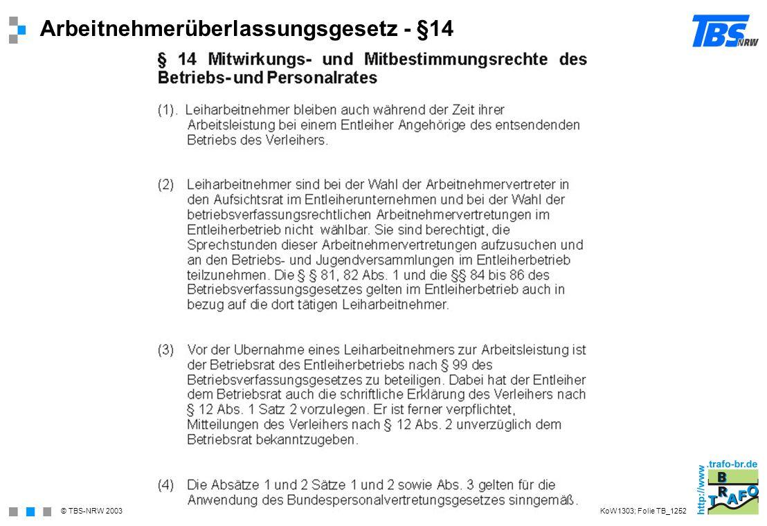 Arbeitnehmerüberlassungsgesetz - §14