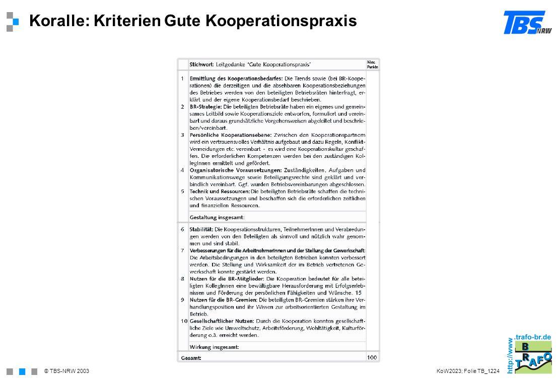 Koralle: Kriterien Gute Kooperationspraxis