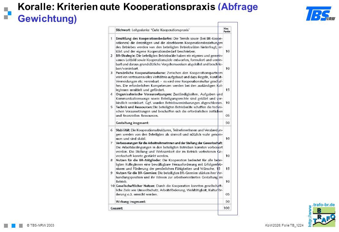 Koralle: Kriterien gute Kooperationspraxis (Abfrage Gewichtung)