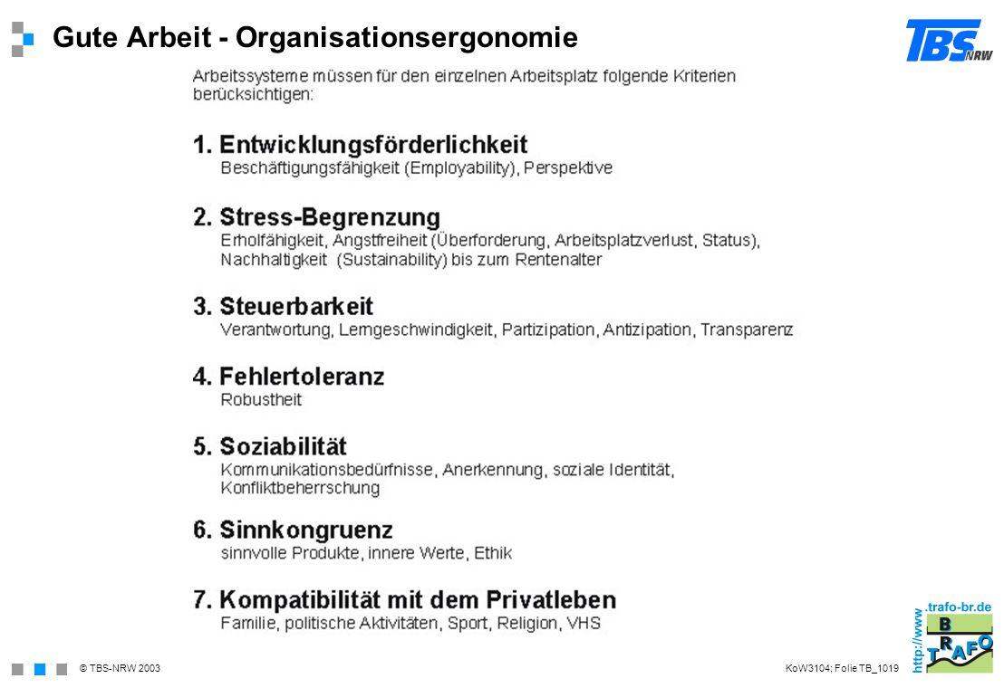 Gute Arbeit - Organisationsergonomie