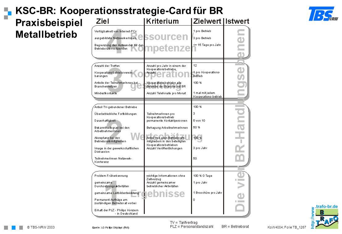 KSC-BR: Kooperationsstrategie-Card für BR Praxisbeispiel Metallbetrieb