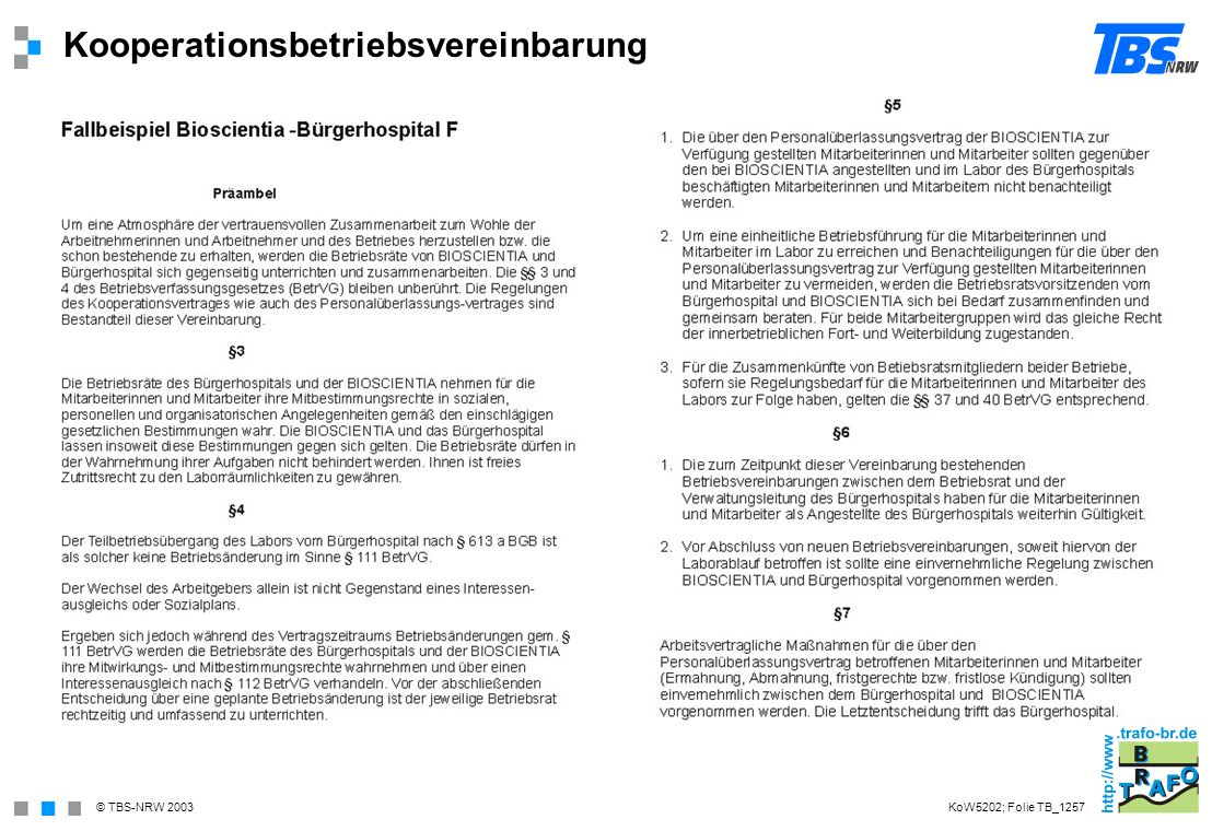 Kooperationsbetriebsvereinbarung