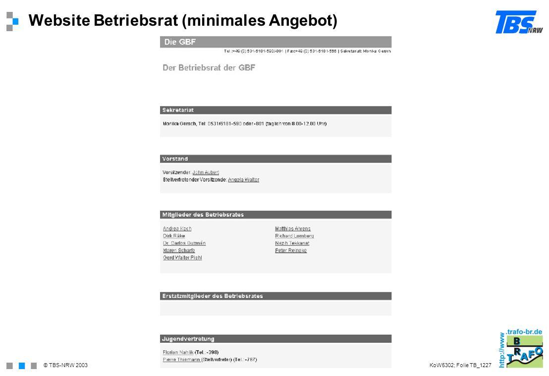Website Betriebsrat (minimales Angebot)