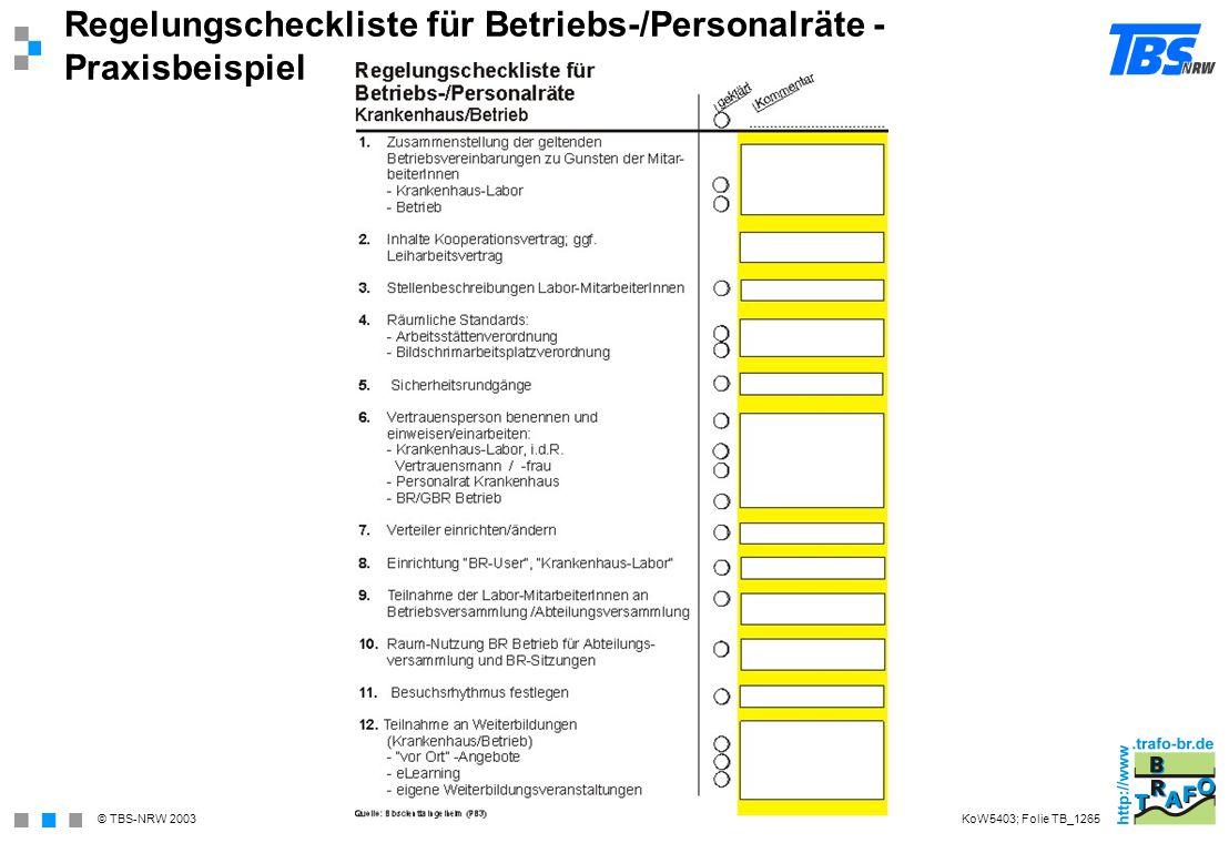 Regelungscheckliste für Betriebs-/Personalräte - Praxisbeispiel