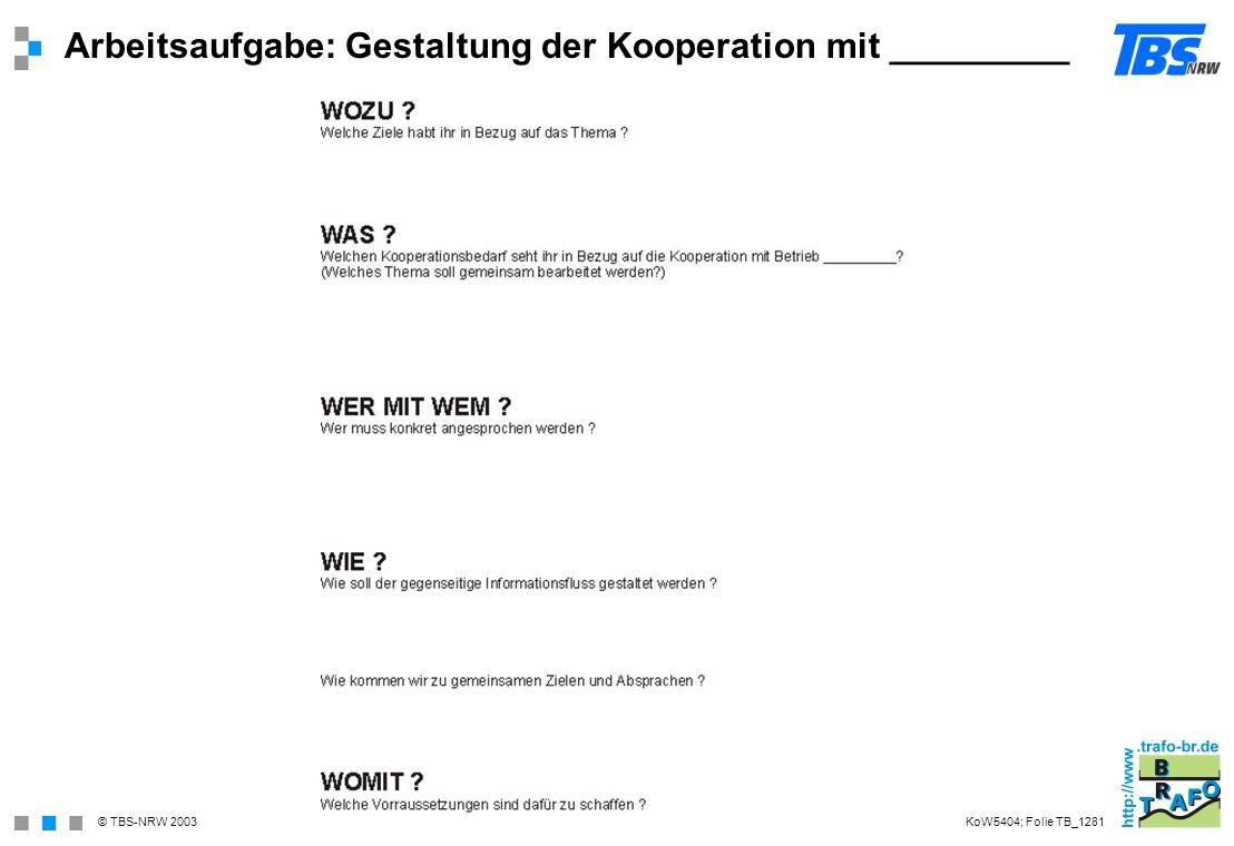 Arbeitsaufgabe: Gestaltung der Kooperation mit _________
