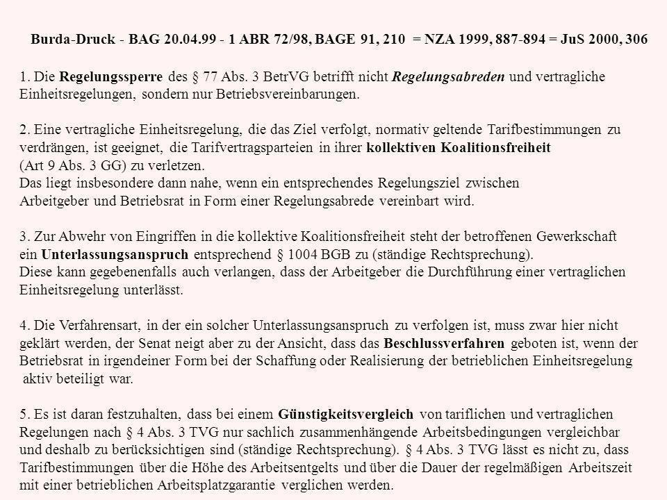 Burda-Druck - BAG 20.04.99 - 1 ABR 72/98, BAGE 91, 210 = NZA 1999, 887-894 = JuS 2000, 306