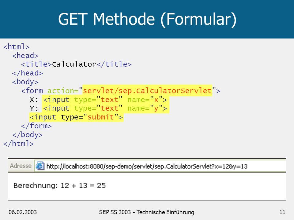 GET Methode (Formular)