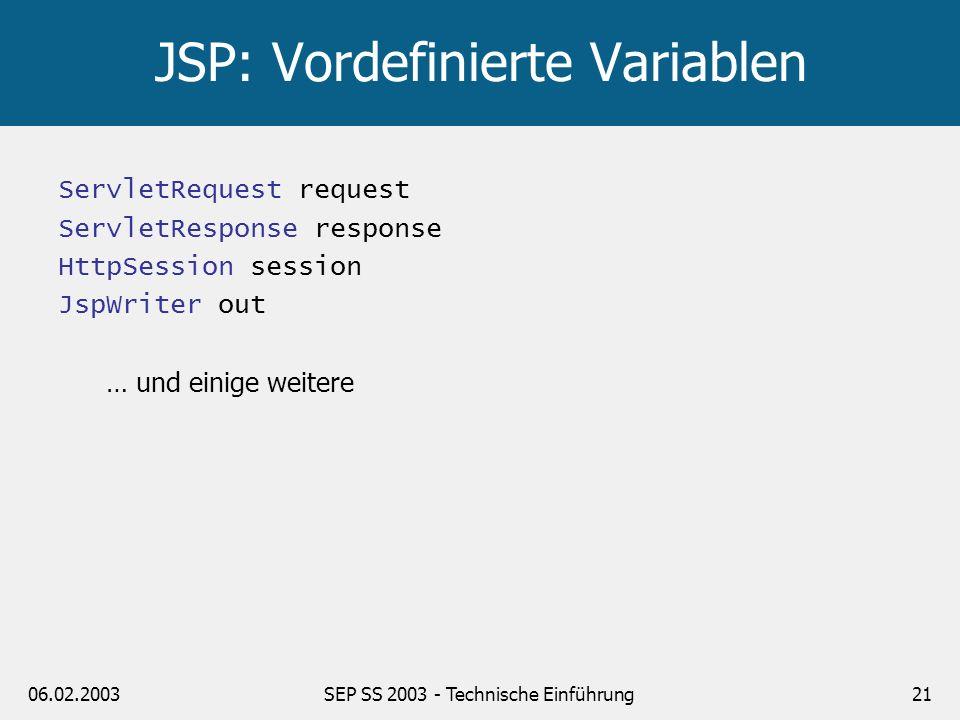 JSP: Vordefinierte Variablen