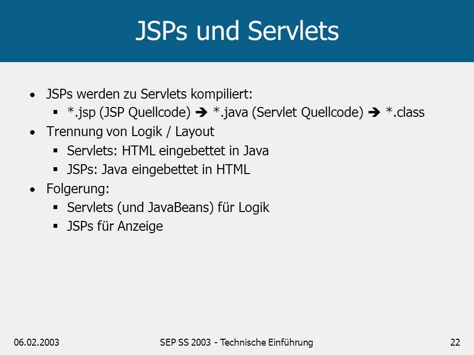 SEP SS 2003 - Technische Einführung