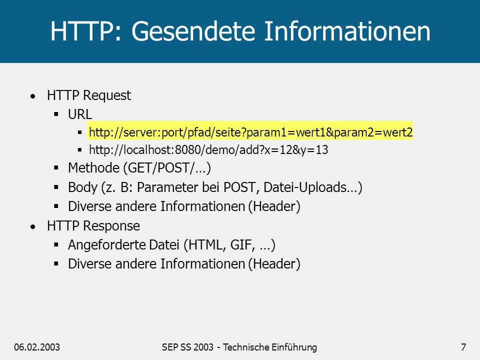HTTP: Gesendete Informationen