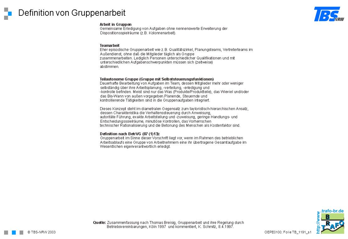Definition von Gruppenarbeit