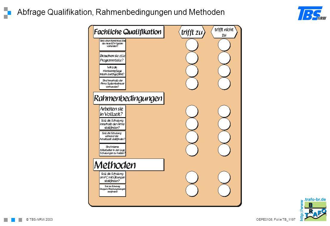 Abfrage Qualifikation, Rahmenbedingungen und Methoden