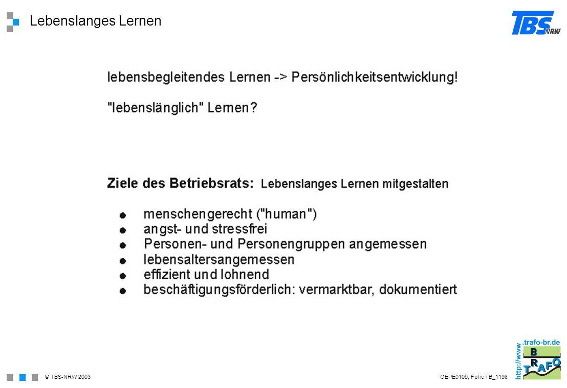Lebenslanges Lernen OEPE0109; Folie TB_1198