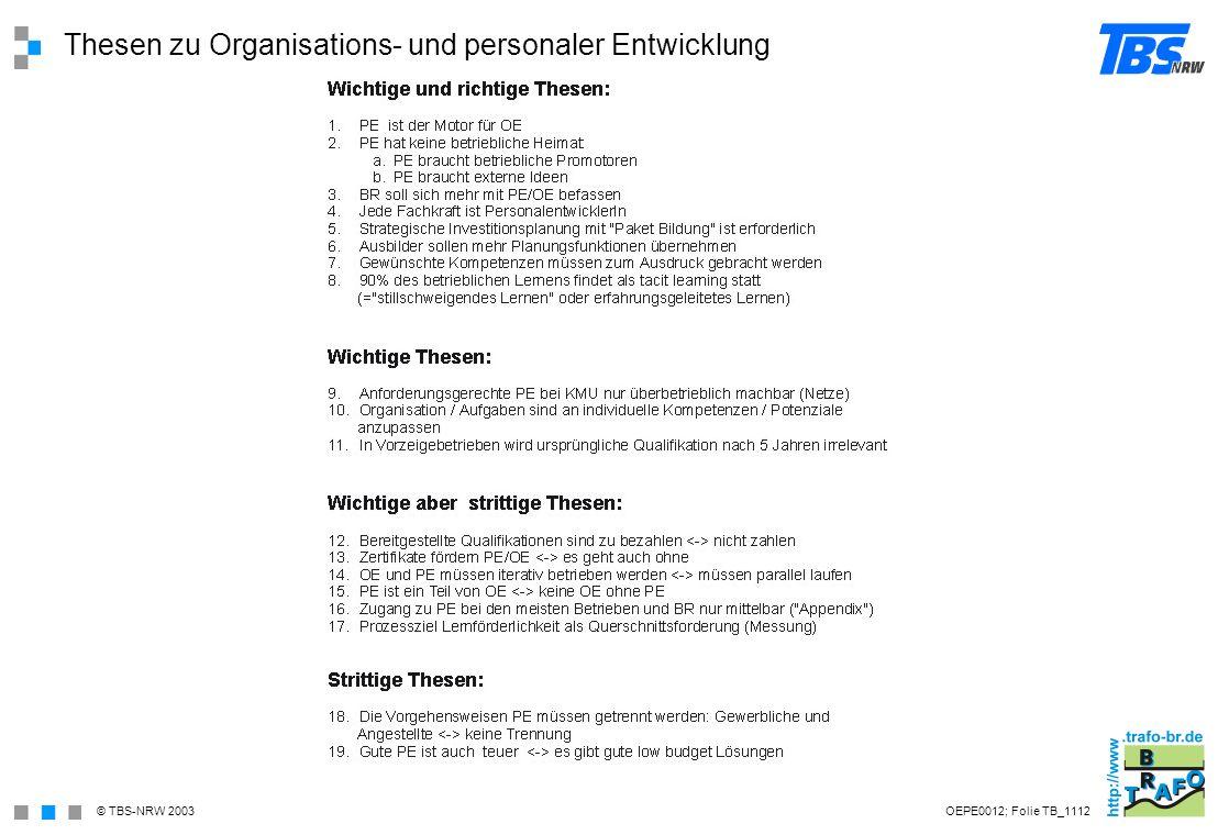 Thesen zu Organisations- und personaler Entwicklung